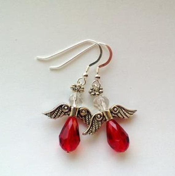 Red Angel Earrings , Guardian Angel Dangle, Faith Jewelry, Red Earrings, Angel Gifts Idea