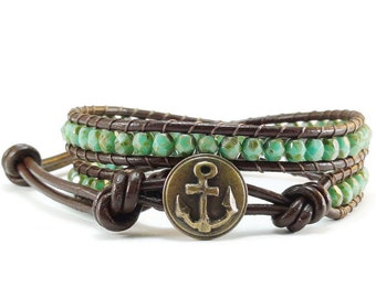 Leather Wrap Bracelet Anchor Button Green Beaded Jewelry
