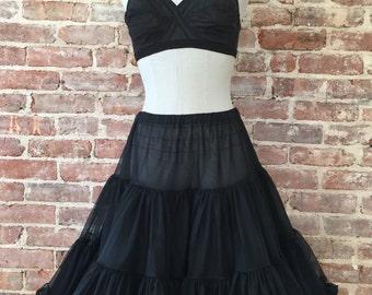 S / M - 1950s Black Petticoat / Vintage Crinoline