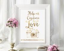 Share the Love Sign, Hashtag Wedding Sign, Gold Wedding Sign, Chic Wedding Sign, Hashtag Wedding, Cute Wedding Print, Instagram Wedding
