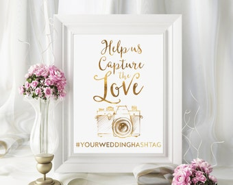 Share the Love Sign, Hashtag Wedding Sign, Gold Wedding Sign, Chic Wedding Sign, Hashtag Wedding, Cute Wedding Print, Instagram Wedding