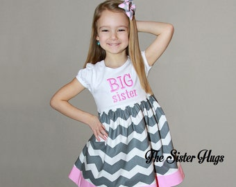 Big Sister Dress - Gray Grey with Pink Trim - Baby Gift - Pregnancy Announcement or Gender Reveal