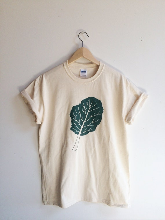 Kale screen printed t shirt kale shirt by andmorgan on etsy for Screen printing on tee shirts