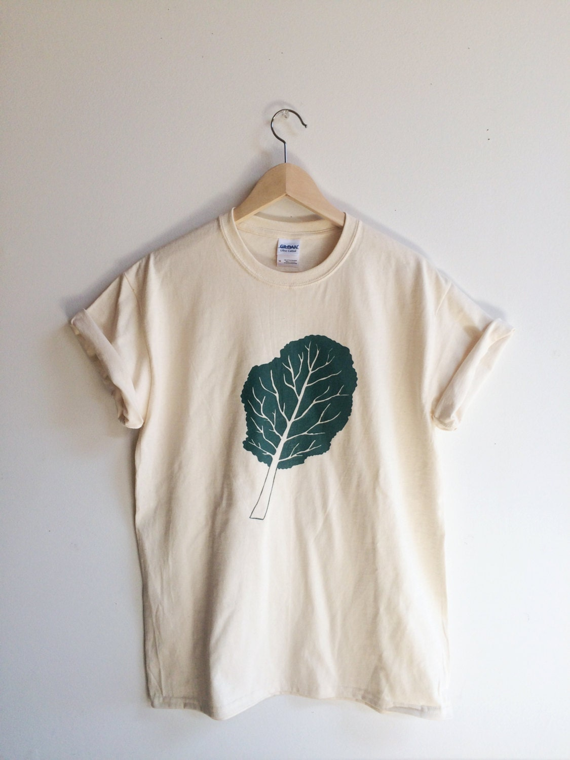 Kale screen printed t shirt kale shirt by andmorgan on etsy for Photo printing on t shirts