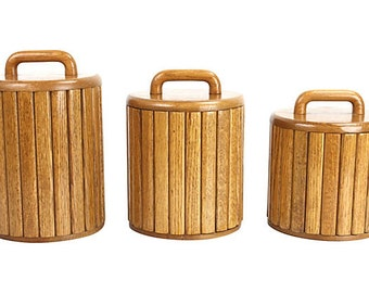 1970s Modernist Kitchen Canisters, S/3