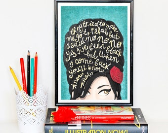 Rehab Amy Winehouse Music Poster, Typography Lyrics, Amy Winehouse, Music Illustration, Pop Art Wall Art, Creative Gift for Her, Art Print