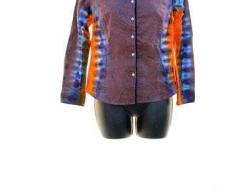 Tie Dye Button Up Top, UPCYCLED Clothing, OOAK Shirt, Ladies Shirts, Hippie Top