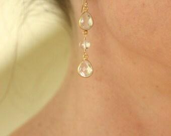 Crystal bridal earrings, long wedding earrings, crystal teardrop earrings bridal jewlry - Lara