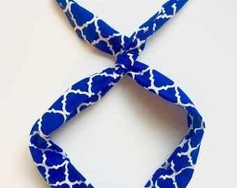 Royal Blue and White Trellis- Byrd Band- Bendable Wire Headband