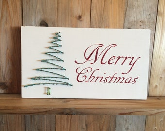 Merry Christmas String Art Sign - Christmas Tree String Art - Holiday Decorations - Christmas Glitter - Merry Christmas Sign - String Art