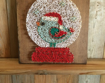 Christmas Bird Snow Globe String Art - Christmas Decorations - String Art - Snow Globe - Christmas String Art - Christmas Bird Sign - Xmas