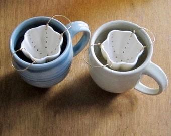 Tea Strainer   Porcelain & Brass   Ceramic Strainer for Loose Leaf Tea