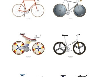 Hour Record Track Cycling Poster with 6 record holding bikes