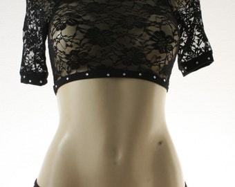 Exotic Dancewear Black Lace shorts 2 piece