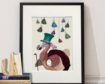 Alice in Wonderland Print - Dodo and Teacups - Dodo bird print dodo bird art alice in wonderland decor dodo wall art dodo painting art print