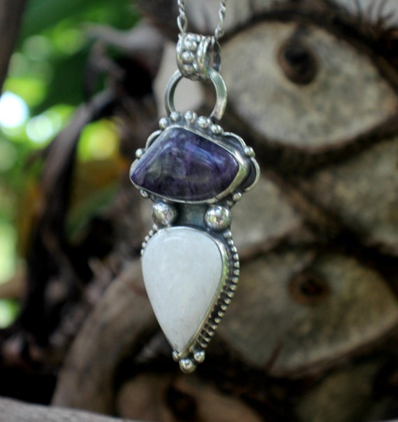 scolecite and charoite pendant purple and white gemstone