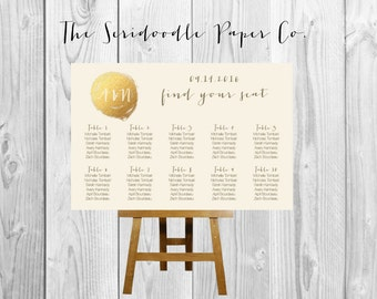 Wedding Seating Chart Sign - Gold themed - Calligraphy >