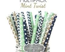 MINT TWIST Paper Straws,Mint Navy & Gold Straws, Wedding, Chevron, Damask, Dots, Vintage, 25 Straws, Stripes, Shower, Party