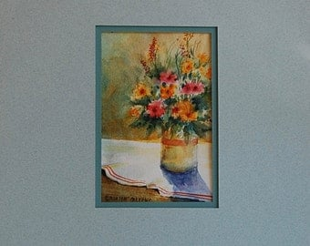 """Original Watercolor """"Summer Morning Gathering"""" Flower Painting, Matted and Ready to Frame - Camille Collins Painting- Ships Free"""