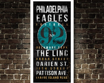 Philadelphia Eagles Subway Typography Art - No.92 Reggie White - Featuring The Linc/City Streets - Eagles Football - Vintage UNFRAMED Print