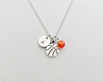 Basketball Initial Necklace Personalized Hand Stamped - with Silver Basketball Charm and Swarovski
