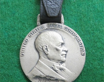 Original 1950's US Steel Corp 25 Year Sterling Watch Fob - EH Gary Chairman - Free Shipping