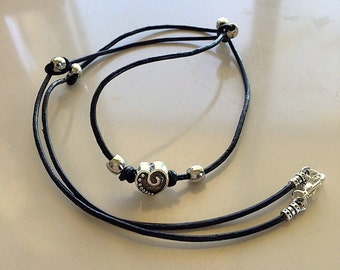 Black Leather Cord Chunky Silver Heart and Beads Knotted Necklace