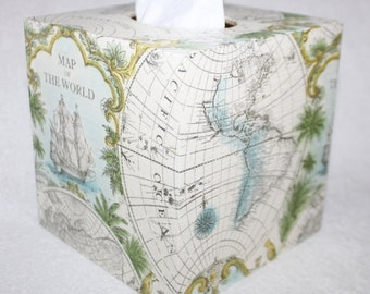 Map of the World, Wooden Tissue Box Cover, Adventures, Holiday,  Great Gift for a Birthday, Housewarming, Friends, Travel Gift, Living Room