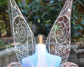 To-Scale, Adult Tinkerbell or Periwinkle Vinyl Fairy Wings for Costumes, Cosplayers, Entertainers, Weddings, and Special Events