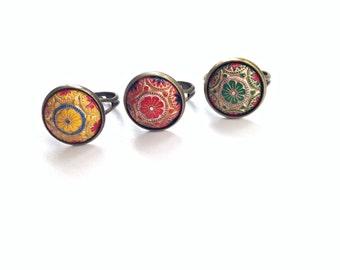 """Orientalischer Ring mit Glasknopf """"Simza"""""""