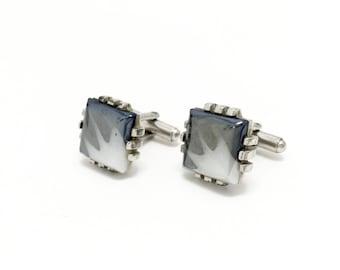 Vintage Art Glass Cuff Links, Hematite Look, Opalescent, Silver Tone