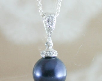 pearl pendant necklace,navy blue pearl pendant necklace,blue pearl necklace,pearl wedding necklace,pearl jewellery,pearl,swarovski pearl