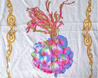 Garlic Print Large Kitchen Tea Towel - 100% Cotton