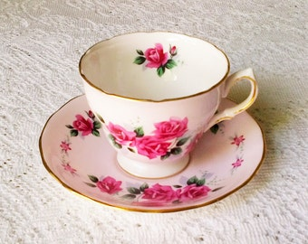 Colclough Pink Rose Floral Print Bone China Footed Tea Cup & Saucer - Made in England
