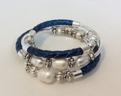METALLIC BLUE and Freshwater Pearl Wire Wrap Bracelet