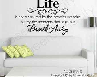 Life Breath Away Inspirational Wall Quote Vinyl Art Decal Sticker Home Decor