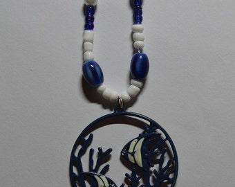 Blue Fish Pendant Necklace