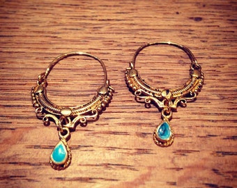 Bohemian earrings gold and blue