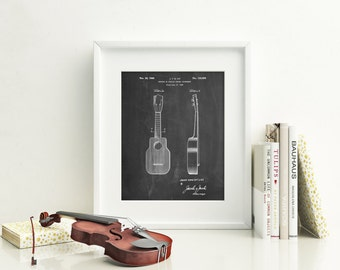 Ukulele Patent Poster, Music Lover Gift, Ukulele Art, Guitar Wall Art, Music Room Decor, Guitarist, PP1117