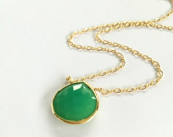 Green Gemstone Pendant, Green Onyx, Gold Necklace, Emerald Green, Faceted Gemstone Pendant, Long Necklace