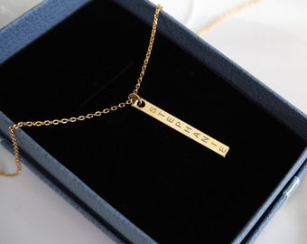 Personalized Bar necklace  Roman Numeral necklace rose gold Bar necklace bridesmaid gift Vertical Bar Necklace anniversary gift, 3*27mm