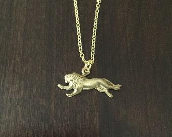 Lion Necklace, Gold Lion Necklace, Lion, Gold Lion, Lion Jewelry, Lion Pendant, Lions, Lions Necklace, Lions Jewelry, Gold Necklace, Jewlery