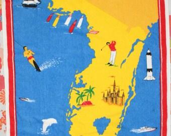 Vintage Florida State Souvenir Terrycloth Large Bath Beach Towel