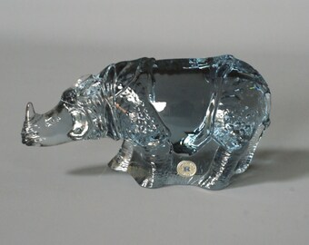 RHINOCEROS Figurine by Reijmyre Glassworks for the World Wildlife Fund, designed by Paul Hoff, Swedish Art Glass Figure, Made in Sweden