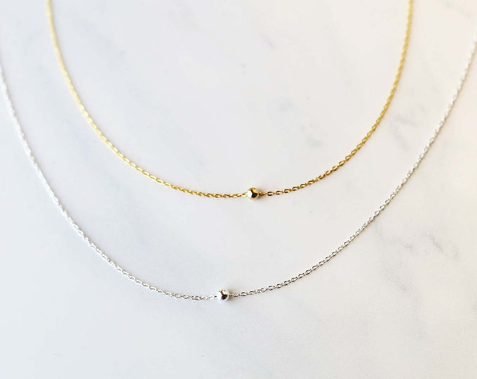 Tiny bead choker necklace - Minimalist simple ball necklace in Gold filled or Sterling silver