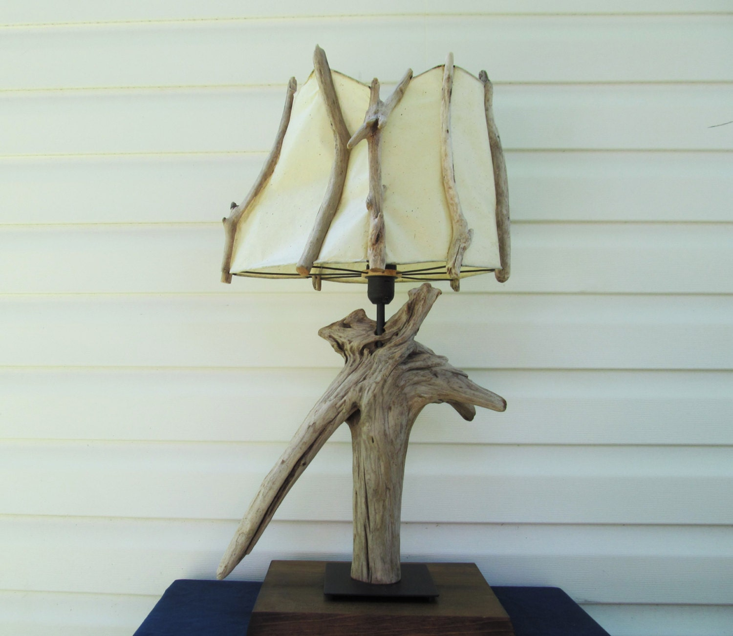 In stock driftwood table lamp with v shaped root and custom for Driftwood tables handmade