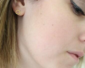 Hexagon earrings - geometric studs - gold studs - tiny studs - small earrings - small stud earrings - minimalist earrings - simple studs