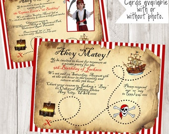Ahoy Matey Pirate Birthday Invitation