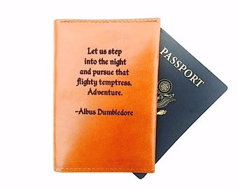 Passport Cover Albus Dumbledore, Leather Passport Holder, Passport Case, Personalized, Leather, Travel Wallet, Girlfriend Christmas Gift,