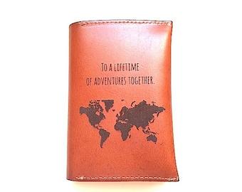 Passport Cover Leather, Passport Holder, Personalized Boyfriend Gift, Passport Case, Map Passport Sleeve, Valentines Day Girlfriend Gift,